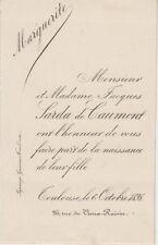 1898 Faire-part naissance Marguerite SARDA de CAUMONT - Toulouse (Haute-Garonne)