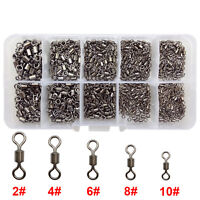 500pcs Brass Fishing Rolling Swivel Sets Black Fishing Tackle Connector 2#-10#