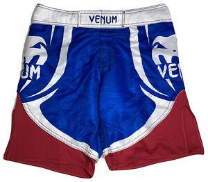 MMA Venum Shorts Men's US 31 EU 40 UK 32 S Red White Blue Muai Thai Jiu Jitsu