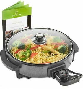 MisterChef® Multi-Function Electric Cooker Frying Pan 30cm Tempered Glass Lid