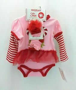 WeePlay Infant Girls Christmas 3 Piece Set Long Sleeve Red & Pink  6 - 9 Months