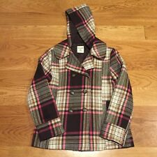 OLD NAVY Girls Brown Pink Plaid Peacoat Dress Coat Jacket Size L Large 10-12 EUC