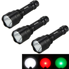 T6/Q5 5000Lm Red/Green/White Hunting LED Flashlight Torch 18650 Switch Gun Mount