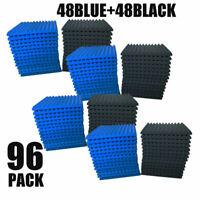 """96 Pk BLACK/BLUE Acoustic Panels Studio Soundproofing Foam Wedge tiles 1""""x12x12"""