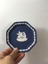 Vintage Wedgwood Jasperware Cobalt Blue Muses and Pegasus Octagonal Trinket Dish