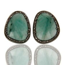 Emerald Gemstone Stud Black Oxidized 925 Silver Diamond Earrings Jewelry