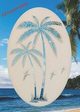 New Oval 26x41 RIGHT LEANING PALM TREES Window Decal Glass Cling Tropical Decor