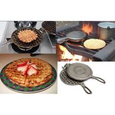 Cast Iron Waffle Maker Pan Belgian Large Indoor Outdoor Campfire Stove 4 Slice