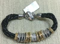 Chico's Bracelet Bizma Black Braided Leather Silver Gold Rhinestone Magnetic