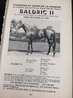 L1-3 Ephemera 1968 Advert Horse Racing Baldric Ii Haras De La Verrerie