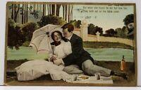 Romance Couple Embrace along River Picnic Wine Fargo to Douglas ND Postcard G10