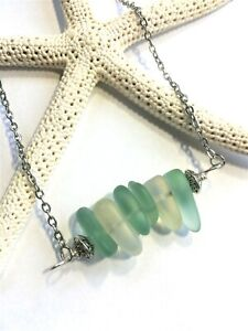 Sea Glass Necklace w Horizontal Stacked Sea Glass Pendant Handcrafted