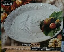 "Everyday Gibson Friends & Family 18 3/4"" Ceramic Turkey Serving Platter New"