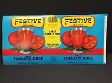 Vintage Festive Brand Tomato Juice Can Paper Label 46 oz