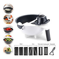 Multifunction 9 In 1 Magic Rotate Vegetable Fruit Cutter Grater w/Washing Basket