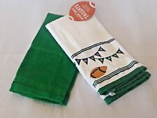 Personalized Football BBQ Party Tailgate  Kitchen Towel White Green Set of 2