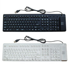 1x Foldable Silicone Keyboard USB Wired Soft Flexible Waterproof Keyboard for PC