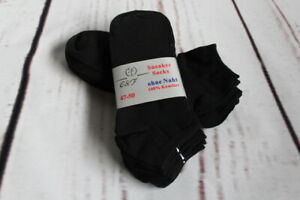 10 Paar schwarze Herren Sneaker Socken Gr. 47-50 * 80% Baumwolle 47 48 49 50