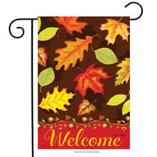 "Fall Leaves Welcome Garden Flag Autumn Colors Briarwood Lane 12.5"" x 18"""