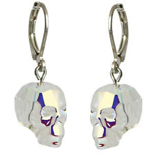 NEW KIRKS FOLLY FACETED DREAM SKULL LEVERBACK EARRINGS  SILVERTONE/CRYSTAL AB