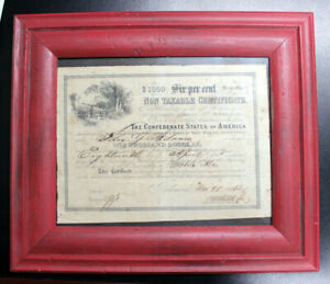 1864 $1000 Confederate States 6% NON TAXABLE CSA Civil War Bond Framed  BALL 366