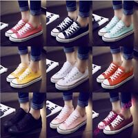 Womens New Candy Colors Casual Flat Sport Lace Up Canvas Shoes Girls Sport Shoes