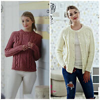 KNITTING PATTERN Ladies Round Neck Cable Jumper & Cardigan Aran King Cole 4816
