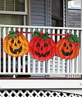 Pumpkin Bunting Halloween Decor Outdoor Porch Yard Party Fence Prop, Polyester