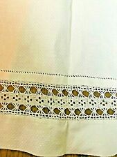 Antique Show Towel White Huck c1900 Crochet Drawn Threadwork MINT