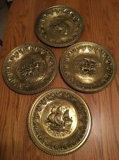 Four Vintage Repousse English Brass Wall Hangings