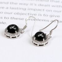 Natural Black Star Sapphire Diopside Zircon Dangle Earrings 925 Sterling Silver