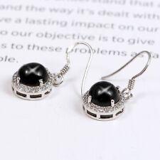Natural Black Star Sapphire Diopside Zircon Dangle Earrings 925 Sterling Silver