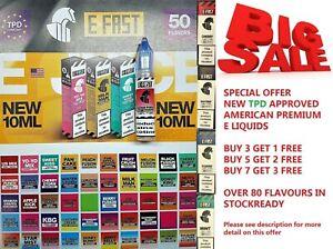 E Fast 10ml E Liquid E Shisha 30/70 E Cig Premium Flavours TPD Compliant