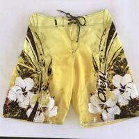 ONEILL Board Shorts Swim Surf Trunks Mens 32 Yellow Brown White Orange Floral