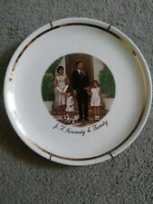 """J F Kennedy & Family Plate Commemorative with wall hanger 9.25"""""""