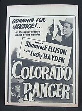 1950 Colorado Ranger Old Movie Poster Broadside Jimmy Ellison Russ Hayden