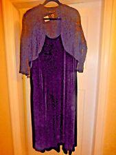 BNWT BON MARCHE BLACK VELVET DRESS WITH ATTACHED 3/4 SLEEVE LACE SHRUG SIZE 24