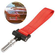 JDM Red Car Tow Towing Strap High Strength Sports Front Rear Bumper Hauling Hook