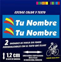 2 PEGATINAS PERSONALIZABLES - BANDERA ESPAÑA CON NOMBRE - VINILO BICI BIKE - MTB