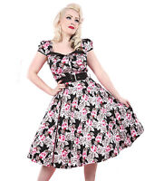 HEARTS & ROSES H&R 50's rockabilly PINK ROSE BUTTON DRESS BLACK