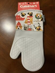 NEW ~ Cuisinart Gray Dog Puppy Patterned Silicone Oven Mitts 2-Pack