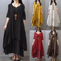 Women Loose Baggy Long Shirt Dress V-Neck Cotton Linen Summer Beach Maxi Dresses