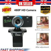 HD Rotatable USB 2.0 Webcam PC Digital Camera Video Recording With Microphone HK
