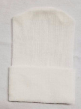 12 NEW NEWBORN 1 PLY BABY BOY GIRL HOSPITAL HATS BEANIE SOLID WHITE MADE IN USA