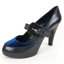 Maloles Court Womens Mary Jane Pump Dark Blue Patent Leather Suede Sz 39 US 8