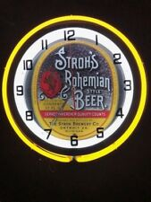 STROHS BOHEMIAN beer neon Clock NEW IN BOX 18 inch double neon clock