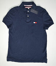 NWT Men's TOMMY HILFIGER Short Sleeve Polo Shirt, S, Small, Navy Blue, Cotton