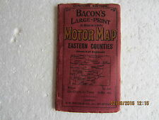 VINTAGE MOTOR MAP-BACON'S LARGE PRINT (5 MILES TO 1 INCH)-EASTERN COUNTIES