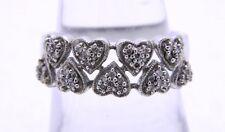 JWBR .925 Heart Sterling Silver Diamond Ring Size 7