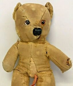 """Small Antique / Early Teddy Bear Soft Toy 11 1/2"""" (29cm) Tall Approx"""
